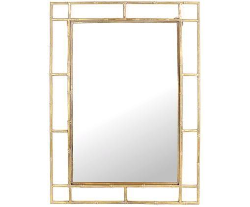 Eckiger Wandspiegel Jake mit Messingrahmen, Rahmen: Metall, beschichtet, Spiegelfläche: Spiegelglas, Messingfarben, 70 x 99 cm