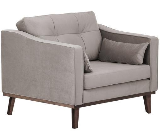Fluwelen fauteuil Alva, Bekleding: fluweel (hoogwaardig poly, Frame: massief grenenhout, Poten: gebeitst massief beukenho, Taupe, B 102 x D 94 cm