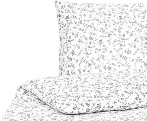 Renforcé-Bettwäsche Anja mit Blumenmuster, Webart: Renforcé, Weiß, Grau, 135 x 200 cm