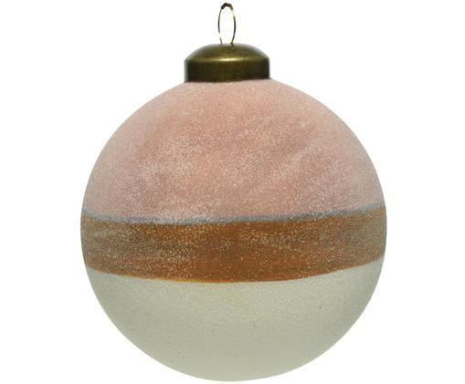 Weihnachtskugeln Sugar, 2 Stück, Rosa, Braun, Weiß, Ø 8 cm