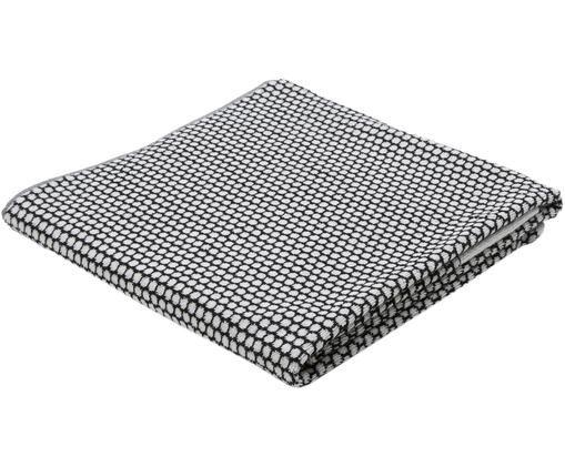 Gepunktetes Duschtuch Grid, Schwarz, Gebrochenes Weiß, 70 x 140 cm