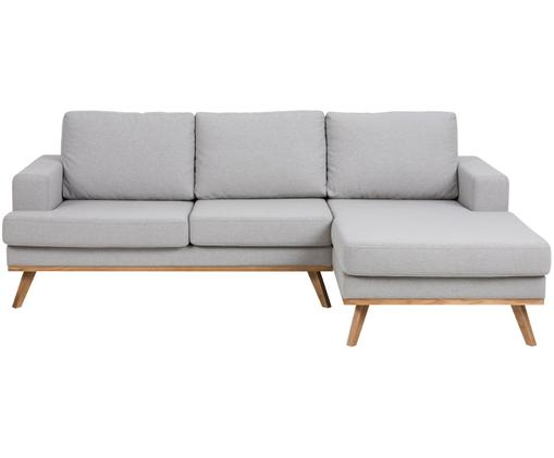 Canapé d'angle Norwich, méridienne à gauche, Revêtement: gris clair Pieds: hêtre