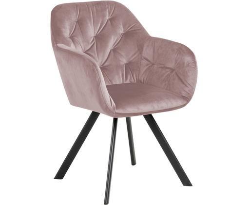 Krzesło z podłokietnikami z aksamitu Lola, Aksamit poliestrowy, metal, Brudny różowy, czarny, S 58 x G 62 cm