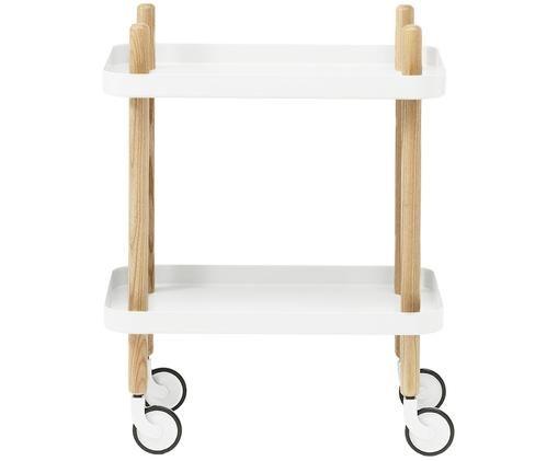 Bijzettafel Block in Scandi design, Frame: essenhout, Wieltjes: staal, rubber, Wit, 50 x 64 cm