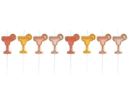 Tortenkerzen-Set Cocktail, 8-tlg., Rosa, Orange,  Rot, Goldfarben