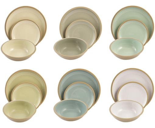 Set di piatti Bistrot, 18 pz., Azzurro, toni verdi, beige, crema Bordo e esterno: marrone