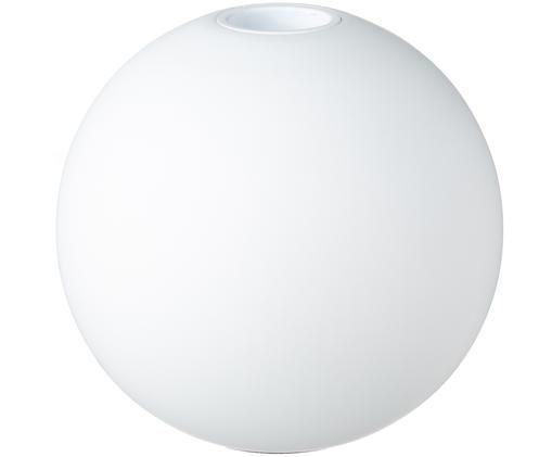 Handgemaakte kandelaar Ball, Hout, Mat wit, Ø 10 x H 9 cm