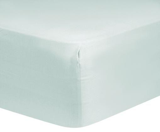Lenzuolo con angoli in raso di cotone Comfort, Verde chiaro, Larg. 160 x Lung. 200 cm