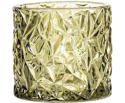 Świecznik Olivia, Szkło, Zielony, lekko transparentny, Ø 9 x W 8 cm