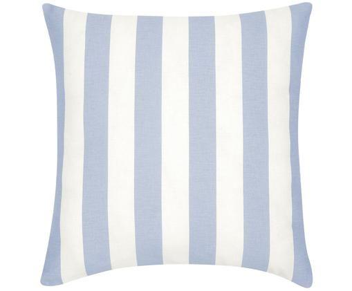 Housse de coussin à jeu de rayures bleu clair et blanc Timon, Bleu ciel, blanc