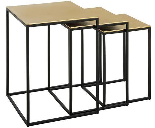 Set tavolini Dwayne, 3 pz., Dorato con  finitura antica
