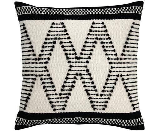Cuscino fatto a mano Aztec, Rivestimento: cotone, Nero, bianco, Larg. 50 x Lung. 50 cm