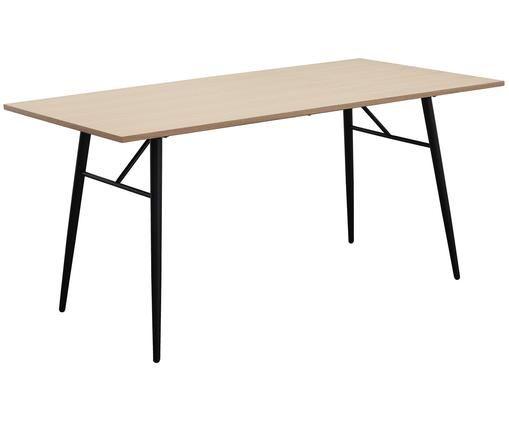 Holztisch Jette mit Metallgestell, Eichenholzfurnier, Schwarz