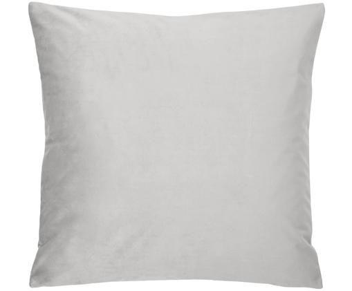 Poszewka na poduszkę z aksamitu Monet, 100% aksamit poliestrowy, Srebrnoszary, S 50 x D 50 cm