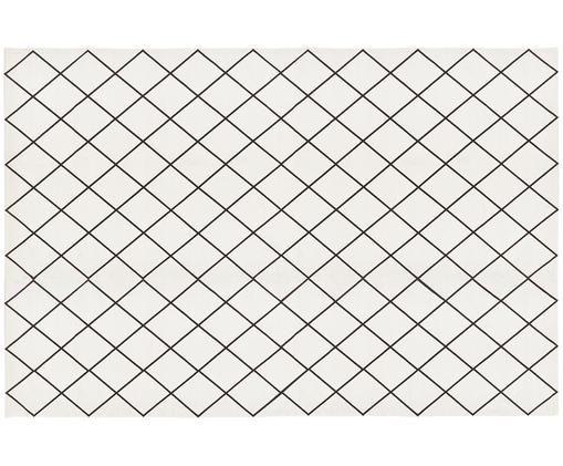 Ręcznie tkany dywan z bawełny Farah, Bawełna, Kremowobiały, czarny, D 200 x S 300 cm