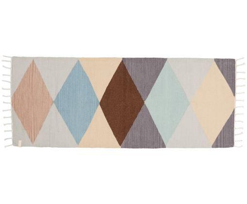 Chodnik z wełny Hip, Beżowy, kremowy, brązowy, blady różowy, zielony, niebieski, S 75 x D 200 cm