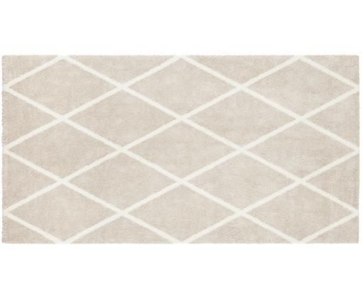 Teppich Lunel mit Rautenmuster, 85% Polypropylen, 15% Polyethersulfon, Beige, Creme, B 80 x L 150 cm (Grösse XS)