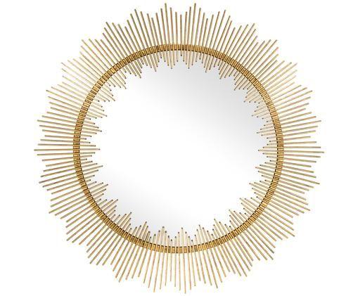 Specchio da parete Alison, Cornice: ferro con rivestimento in, Superficie dello specchio: lastra di vetro, Dorato, Ø 92 cm