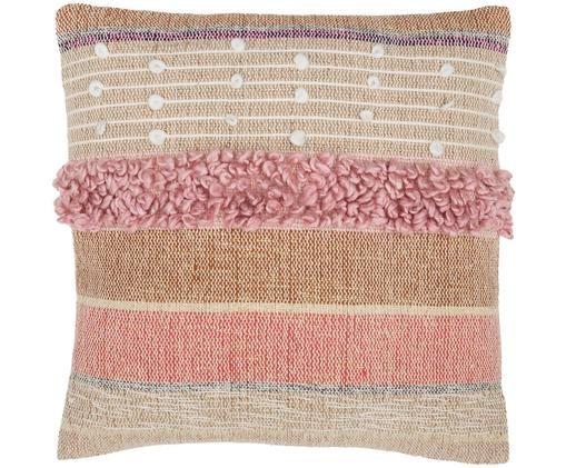 Poduszka z wypełnieniem Madison, Tapicerka: bawełna, Beżowy, różowy, biały, D 45 x S 45 cm