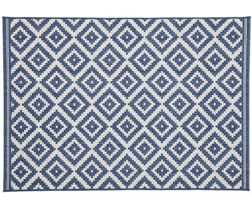 Alfombra de interior/exterior Miami, Parte superior: polipropileno, Reverso: poliéster, Blanco crema, azul, An 200 x L 290 cm (Tamaño L)
