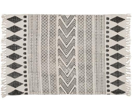Ręcznie zdobiony dywan Block, Czarny, kremowy