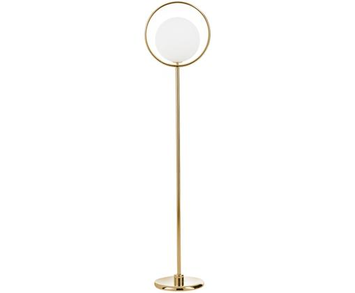Design-Stehlampe Saint in Gold, Lampenschirm: Glas, Weiß, Messing, 30 x 140 cm