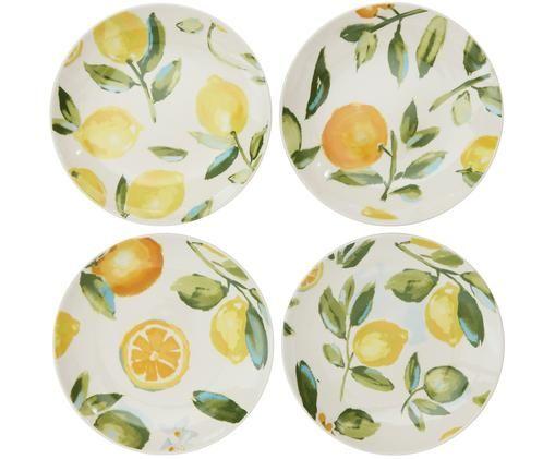 Set piatti da colazione fatti a mano Gatherings, 4 pz., Terracotta, Bianco, verde, giallo, Ø 21 x A 3 cm