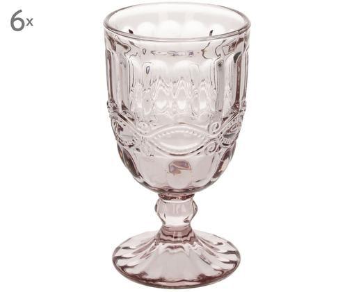 Bicchiere da vino con rilievo Solange 6 pz, Vetro, Trasparente, rosa, 350 ml