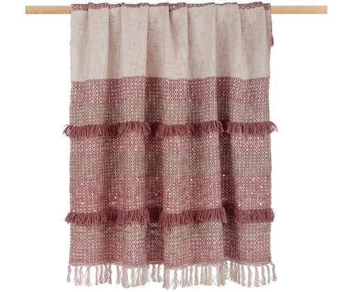 Baumwollplaid Kulu mit Pailletten und Fransen