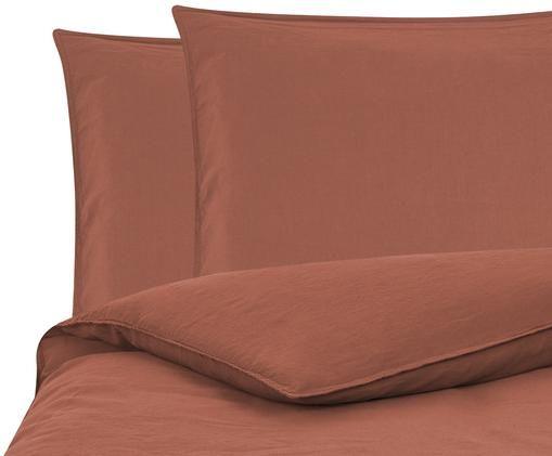 Gewaschene Leinen-Bettwäsche Carla, 52% Leinen, 48% Baumwolle Mit Stonewash-Effekt, Terrakotta, 240 x 220 cm