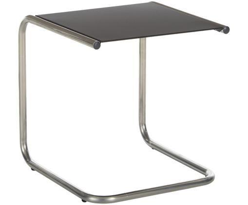 Garten-Beistelltisch Club aus Metall, Tischplatte: Metall, pulverbeschichtet, Gestell: Aluminium, poliert, Schwarz, Aluminium, B 40 x T 40 cm