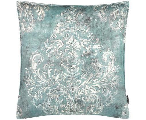 Federa arredo con ornamenti Garonne, Cotone, Turchese, bianco, grigio, Larg. 50 x Lung. 50 cm