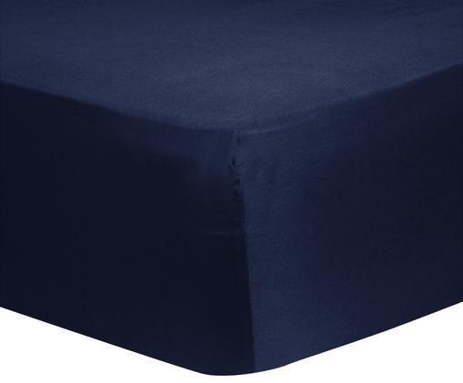 Prześcieradło z gumką z satyny bawełnianej Comfort, Ciemnyniebieski, S 140 x D 200 cm