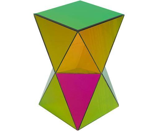 Spiegel-Beistelltisch Triangle Rainbow, Korpus: Mitteldichte Holzfaserpla, Oberflächen: Spiegelglas, gefärbt, Grün, Gelb, Pink, B 32 x T 32 cm