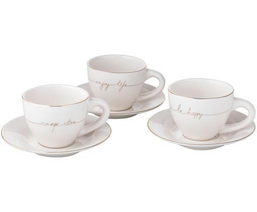 Set tazze Happy, 6 pz., Porcellana, Bianco, dorato, Ø 15 x Alt. 8 cm