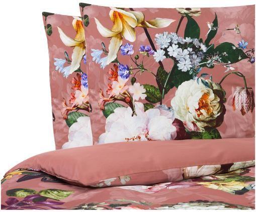 Dwustronna pościel z satyny bawełnianej  Fleur, Brudny różowy, 200 x 200 cm