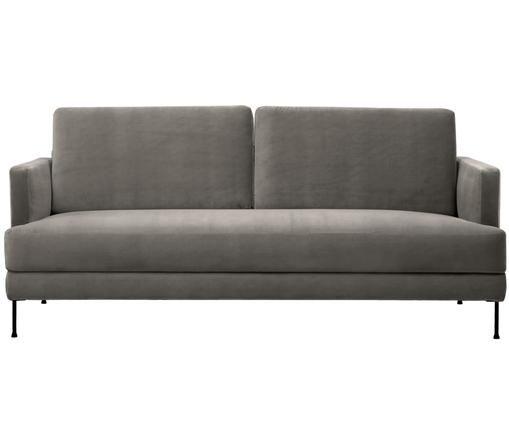 Sofa z aksamitu Fluente (3-osobowa), Tapicerka: aksamit (wysokiej jakości, Stelaż: lite drewno sosnowe, Nogi: metal lakierowany, Szarobrązowy, S 197 x G 83 cm