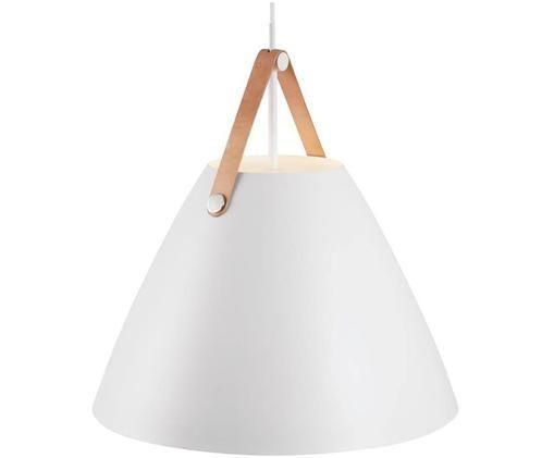 Kleine Pendelleuchte Strap mit Lederband, Lampenschirm: Metall, pulverbeschichtet, Baldachin: Kunststoff, Weiß, Ø 36 x H 35 cm