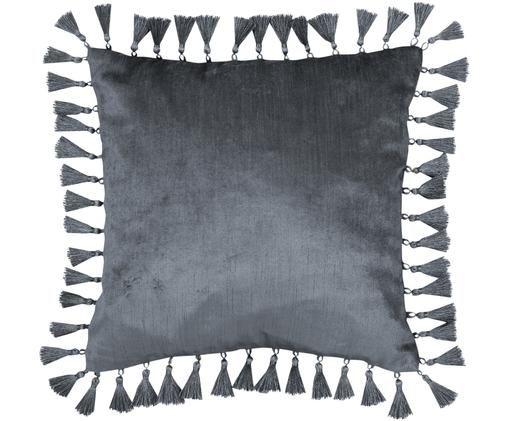 Glänzende Samt-Kissenhülle Georgina in Grau mit Quasten, Grau