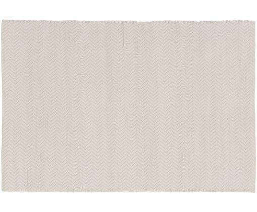 Tapis en laine beige imprimé zigzag, tissé à la main Clara, Crème