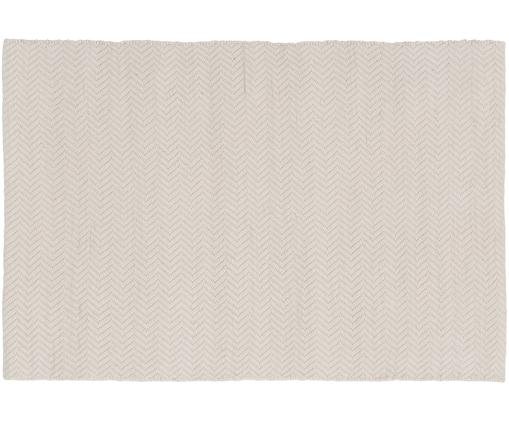 Alfombra artesanal de lana Clara, Crema