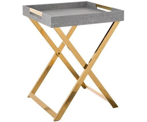Mesa auxiliar con bandeja extraíble Megan, Estructura: metal, Bandeja: tablero de fibras de dens, Asas: metal, Gris oscuro, An 46 x Al 55 cm