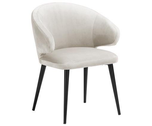 Sedia con braccioli in velluto Celia in design moderno, Ecru
