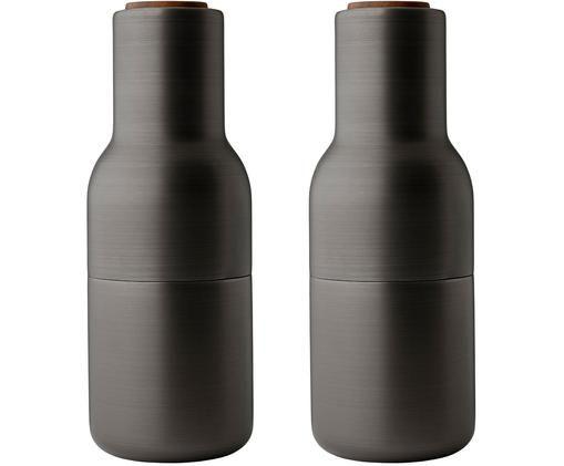 Komplet młynków Bottle Grinder, 2elem., Korpus: stal mosiądzowana i szczo, Antracytowy, Ø 8 x W 21 cm