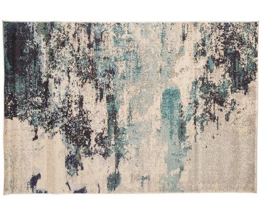 Design vloerkleed Celestial, Bovenzijde: polypropyleen, Onderzijde: jute, Ivoorkleurig, blauwtinten, B 120 x L 180 cm (maat S)