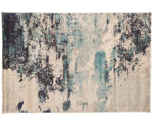 Alfombra de diseño Celestial, Parte superior: polipropileno, Reverso: yute, Marfil, azul, An 120 x L 180 cm (Tamaño S)