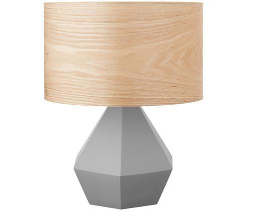 Lampada da tavolo Vince, Paralume: vero legno impiallacciato, Base della lampada: cemento, Paralume: vero legno impiallacciato Base della lampada: grigio, Ø 30 x Alt. 39 cm