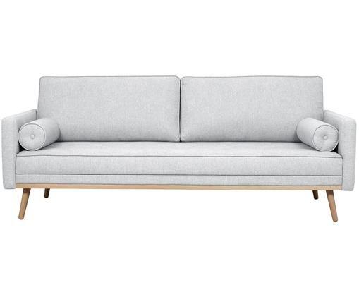 Sofa Saint (3-Sitzer), Bezug: Polyester 50.000 Scheuert, Gestell: Massives Kiefernholz, Spa, Hellgrau, 210 x 70 cm