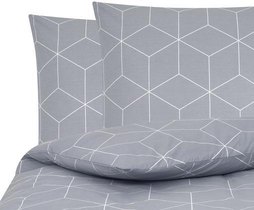 Renforcé-Bettwäsche Lynn mit grafischem Muster, Webart: Renforcé, Grau, Cremeweiss, 240 x 220 cm