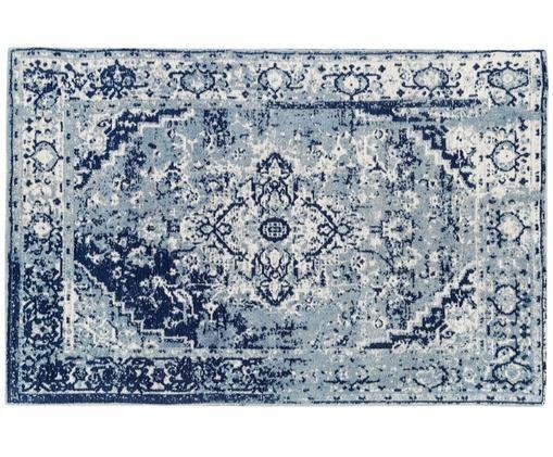 Handgeweven chenille vloerkleed Catania, Lichtblauw, donkerblauw, crèmekleurig